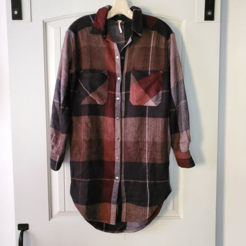 Free People Plaid Tunic Snap Button Down Shirt S