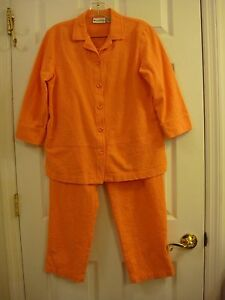 Appleseed's Petites 2 Pc Orange Outfit Top and Elastic Waist Pants Ladies Sz 12P