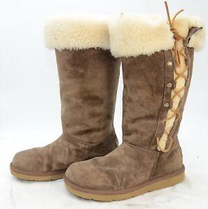 0b08d0d83f0 Details about UGG Australia UPSIDE Tall Cuffed Sheepskin Winter Warm Boots  5163 Womens sz 6