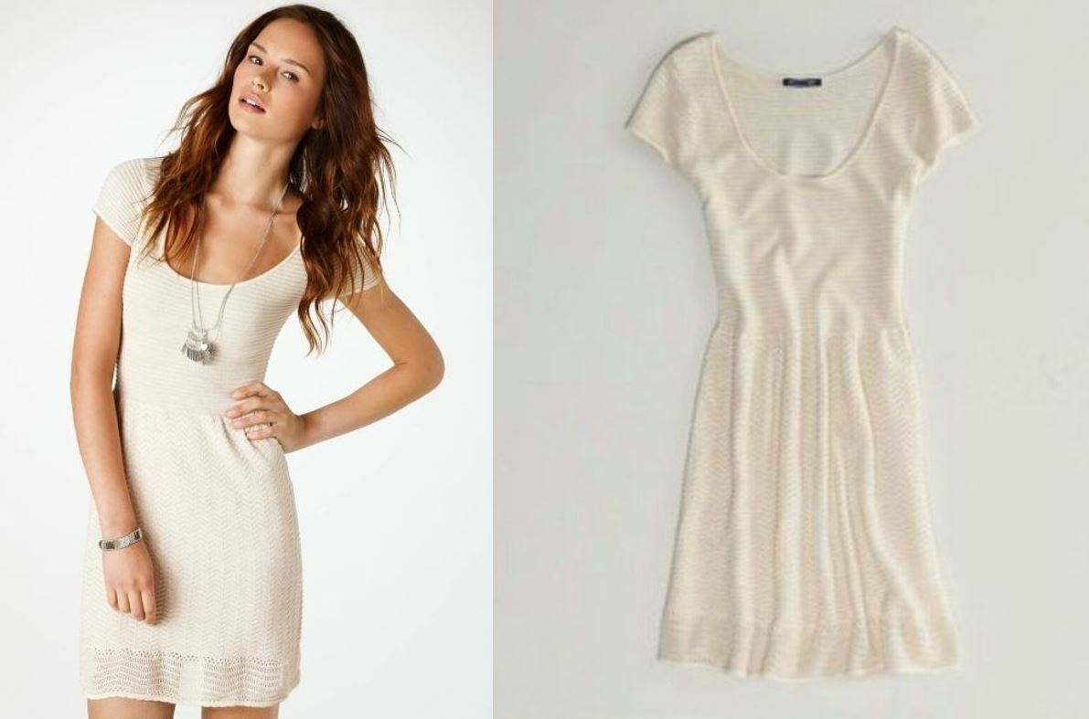 american eagle outfitters SHIMMER FIT AND FLARE ivory pointelle sweater DRESS