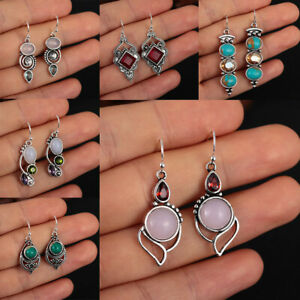 Jewelry-Pendientes-de-piedra-de-luna-Amatista-Turquesa-Multi-Gemstone-stud-oido