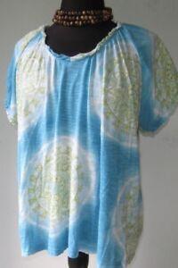 Caribbean-Joe-Women-s-Blouse-Top-V-Neck-Aqua-Blue-Print-Pullover-size-1X