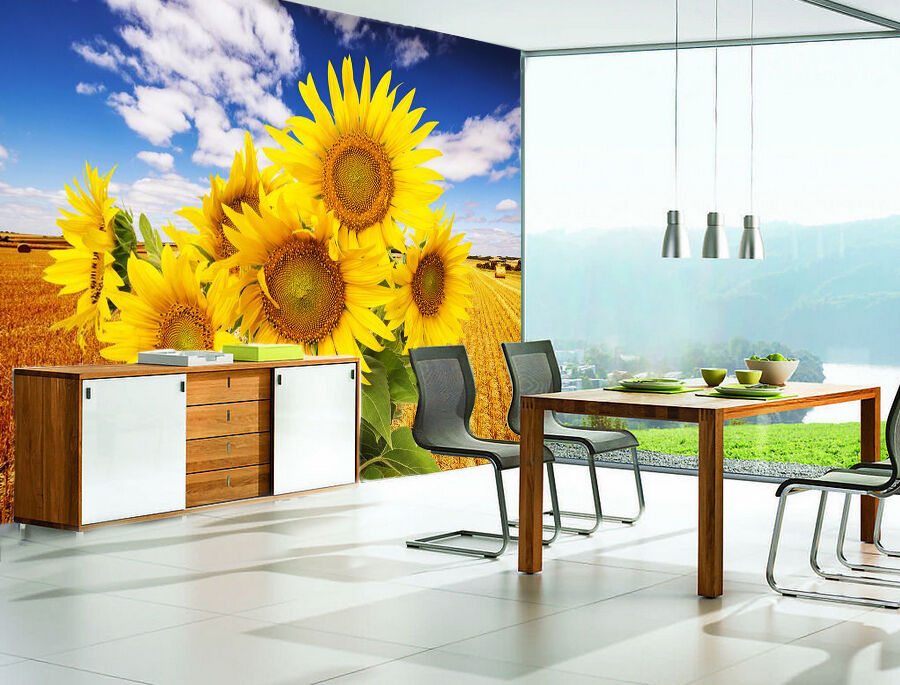 3D Sunflower Field Nature 3101 Wall Paper Wall Print Decal Wall AJ WALLPAPER CA