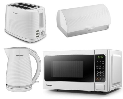 Electric Jug Kettle Toaster & Bread Bin Morphy Richards Toshiba Microwave WHITE