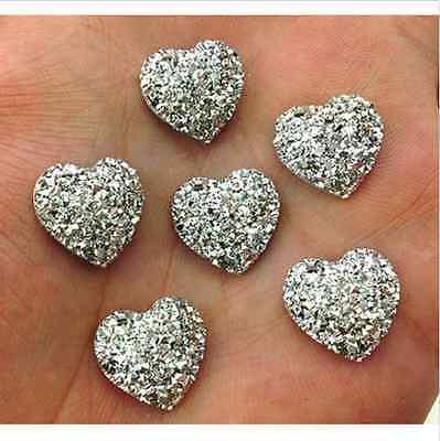 50Pc Mixed AB Resin Heart Shape Flatback For Phone//Wedding//Craft Makings DIY New