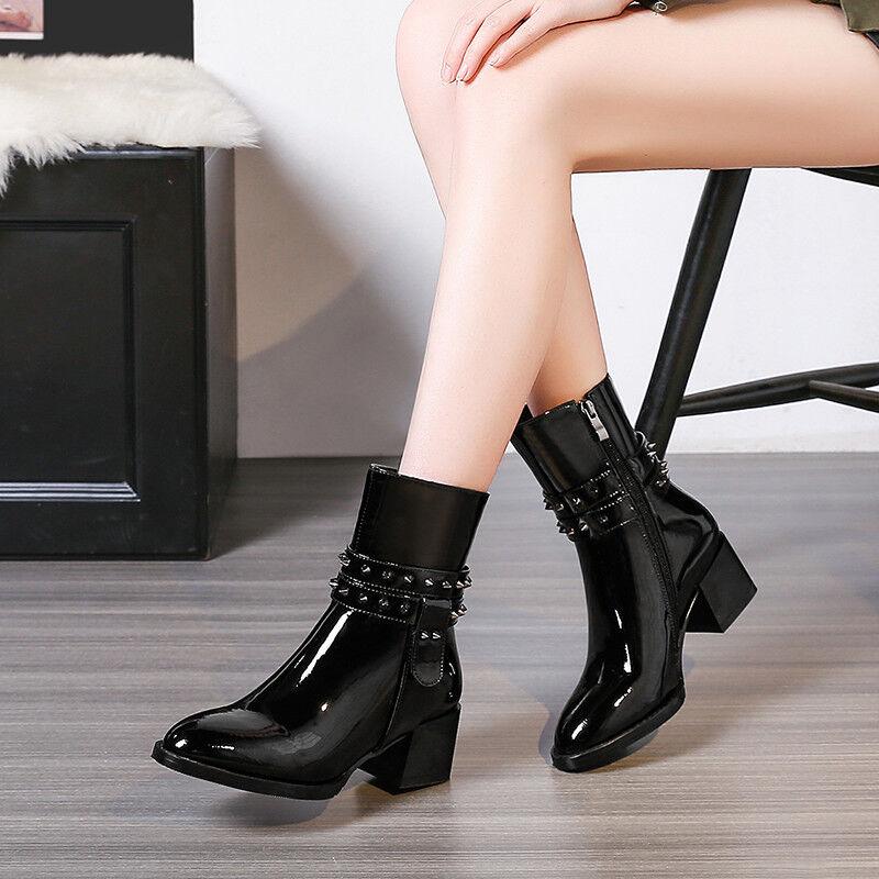 NEU  Stiefel Damenschuhe Punk Blockabsatz Lackleder Niet Gummi Punk Damenschuhe Stiefeletten 6025a8