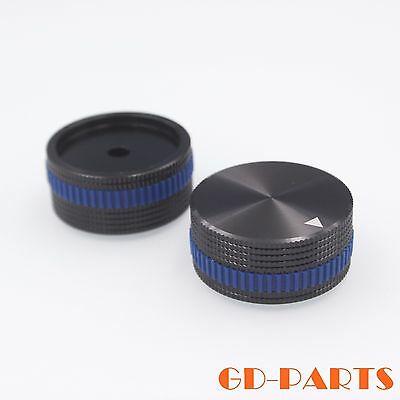 2PCS 40x18mm Machined Solid Aluminum Knob With Blue Ring for AMP CD Volume Black