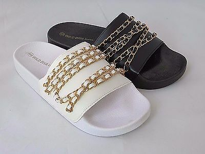 MATTY22 JELLY SANDAL WOMEN SHOES SLIP ON SLIDES CHAIN SLIPPERS SHILOH WILD DIVA | eBay
