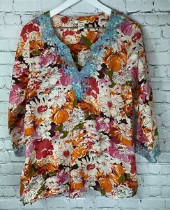 SUNDANCE-CATALOG-Womens-039-Orange-Pink-Floral-Embroidered-Blouse-Shirt-Size-Large