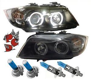 LED-Angel-Eyes-SCHEINWERFER-BMW-E90-E91-05-08-schwarz-OSRAM-Xenon-Look-H7-H1