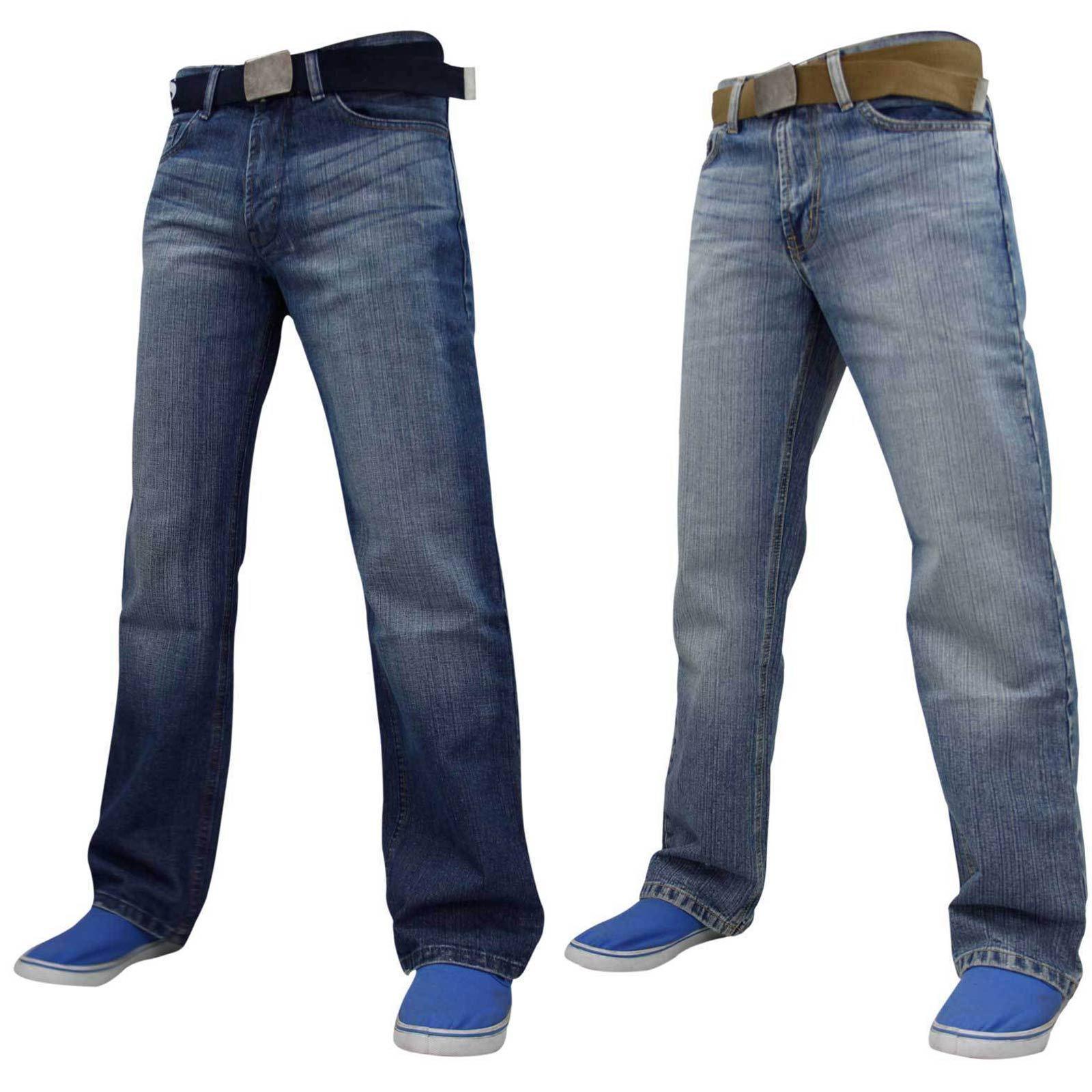 Crosshatch Jeans Denim Uomo Chiusura Zip Regular Fit Pantaloni Pantaloni Taglie Big /& Tall