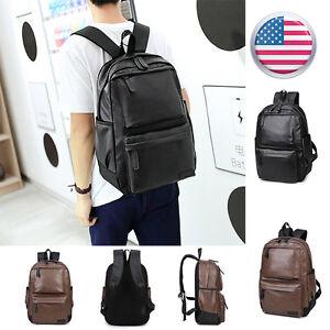 Men Fashion Women Leather Backpack School Bag Travel Rucksack Shoulder Bag 9