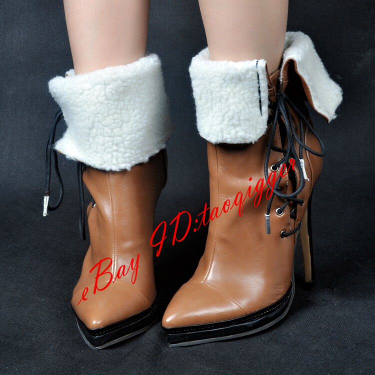 Retro Lamb Fur Lining Ankle Boots Lace UP Pointy Toe Roma Boots Party shoes Size