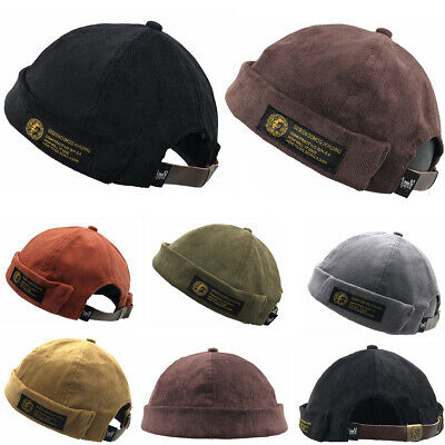 Men Boys Corduroy Adjustable French Brimless Hat Vogue Retro Skullcap Sailor Cap