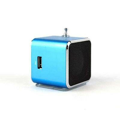 Blue Square FM Radio Receiver USB Digital Micro SD/TF MP3/4 Music Player Speaker