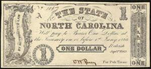 1862-1-ONE-DOLLAR-BILL-NORTH-CAROLINA-NOTE-CURRENCY-OLD-PAPER-MONEY-CH-AU