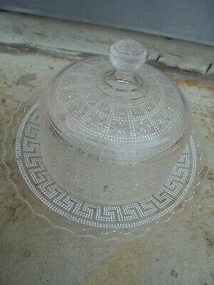 31672 Deckeldose Brockwitz Mäander 1900 Butterdose Preßglas 14x20cm Und Ein Langes Leben Haben.