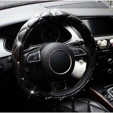 38cm Universal Black PU Leather Crystal Crown Foam Auto Car Steering Wheel Cover