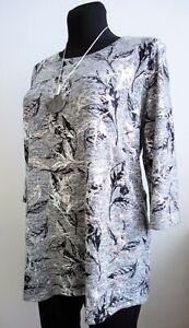 Gr-48-MiaModa-Damen-Shirt-Bluse-Tunika-Glanzeffekte-3-4-Arm-50-Rabatt