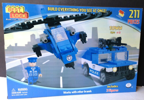 3 FIGURES~Clearance Price~ BEST-LOCK 211 PIECE POLICE SET TRUCK HELICOPTER