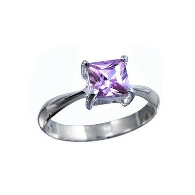 1ct Pink CZ(Cubic Zirconia) Square Princess Cut S. Silver Ring Size 5,6,7,8,9,10