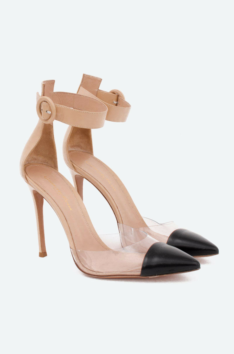 GIANVITO ROSSI NEW Anais Beige Leather PVC Black Cap Toe D'Orsay Heel 39 9 8.5