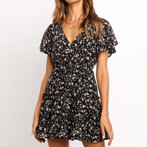 Ladies Dress Chiffon XL Short A-line Skirt V-neck Print Beach Dress Casual Slim