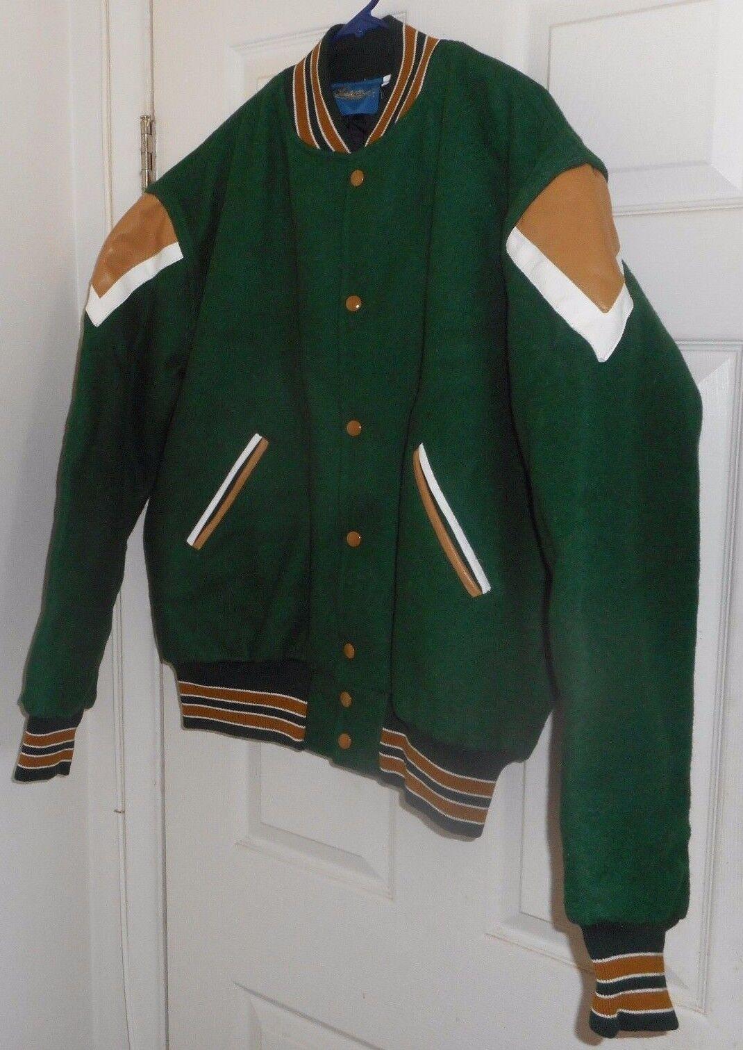 b266cf64f73cd NOS GEM Green Wool + Khaki-White Leather HOTROD Varsity LETTERMAN Greaser  LXL