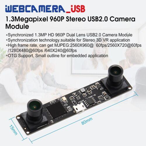 Synchronization 960P Dual Lens USB Camera Module MJPEG 60fps for 3D VR Camera
