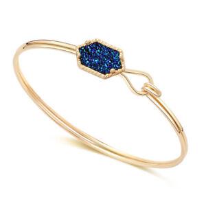 Gold-Silver-Metal-Druzy-Cuff-Bracelet-Royal-Blue-Boho-Drusy-Bracelet-Bangles