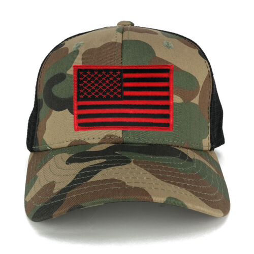 US American Flag Embroidered Patch Adjustable Camo Trucker Cap 1054-WWB