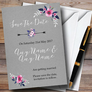 Rustic Watercolour Navy Blue & Silver Personalised Wedding Save The Date Cards