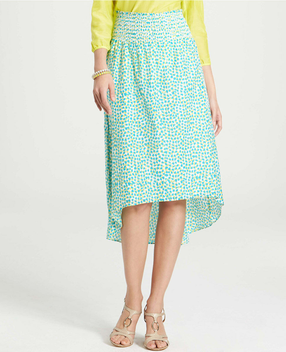 Ann Taylor Etched Notes Print Cotton Silk Skirt Size Small NWT Polished Turquois