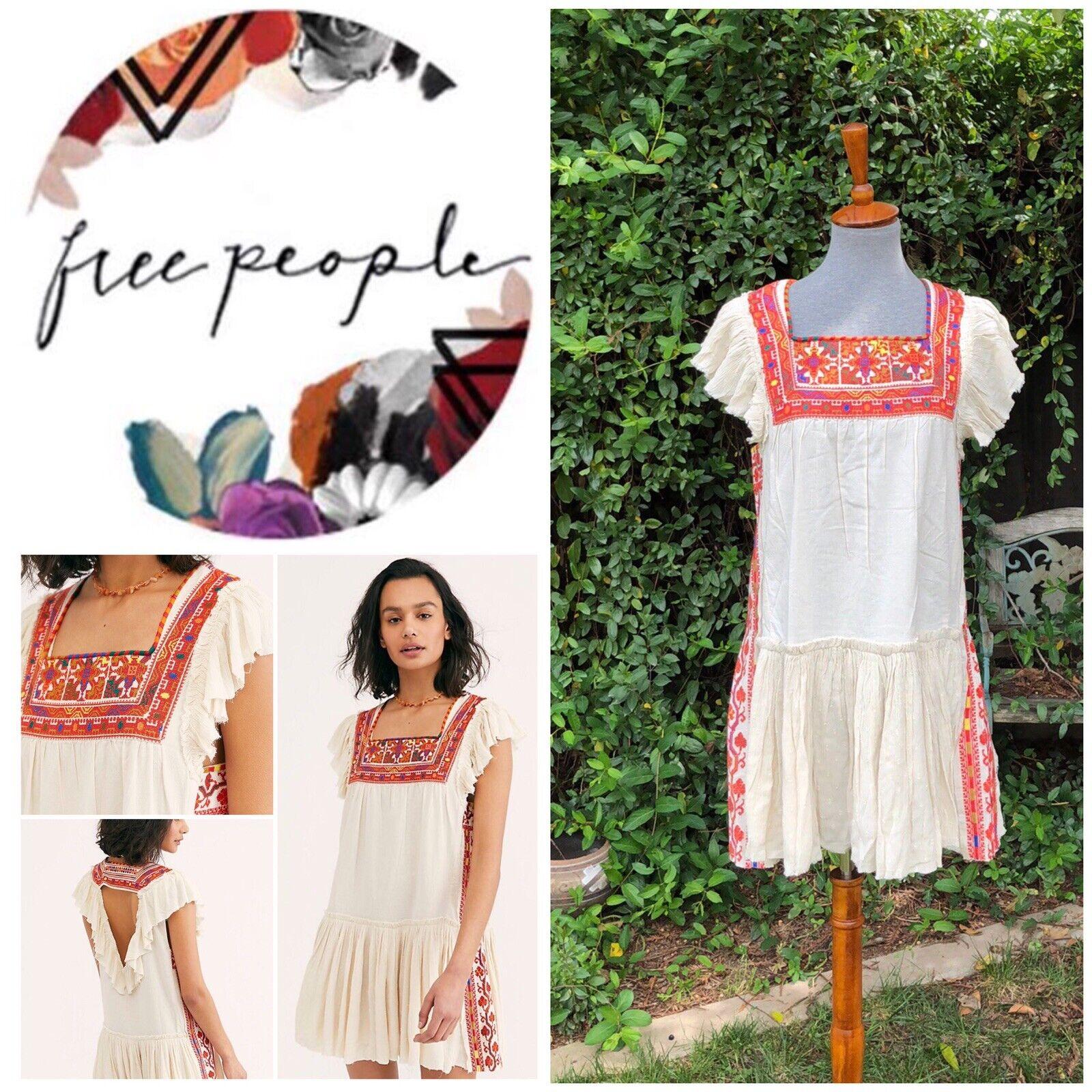 Free People Day Glow Mini Dress Weiß Sand Größe Small NWT