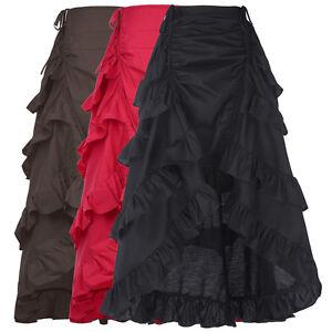 Retro-50-039-s-Gothic-Victorian-Steampunk-Ruffle-High-Low-Bustle-Vintage-Dress-Skirt