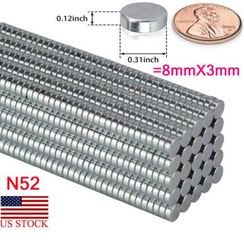 New 8mm x 3mm N52 Neodymium Disc Strong Rare Earth Small Fridge Magnet