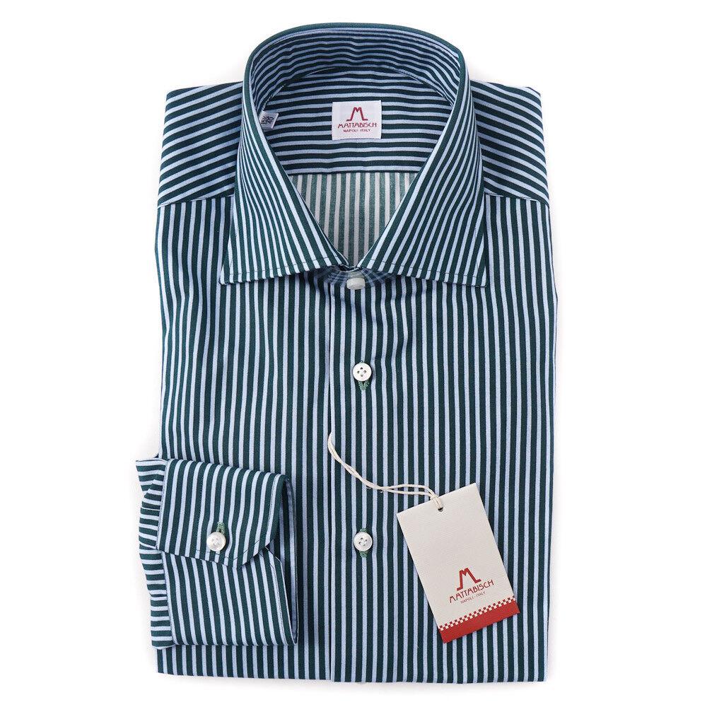 NWT  MATTABISCH by KITON Green-bluee Stripe Cotton Shirt 15.75 Modern-Fit
