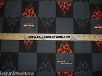 Harley Davidson Logo Black Gray Fire Biker Motorcycle 8 Square Pair Set Fabric