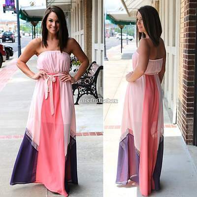 Sexy Women Chiffon Strapless Cocktail Party Evening Maxi Long Dress Plus Size N9