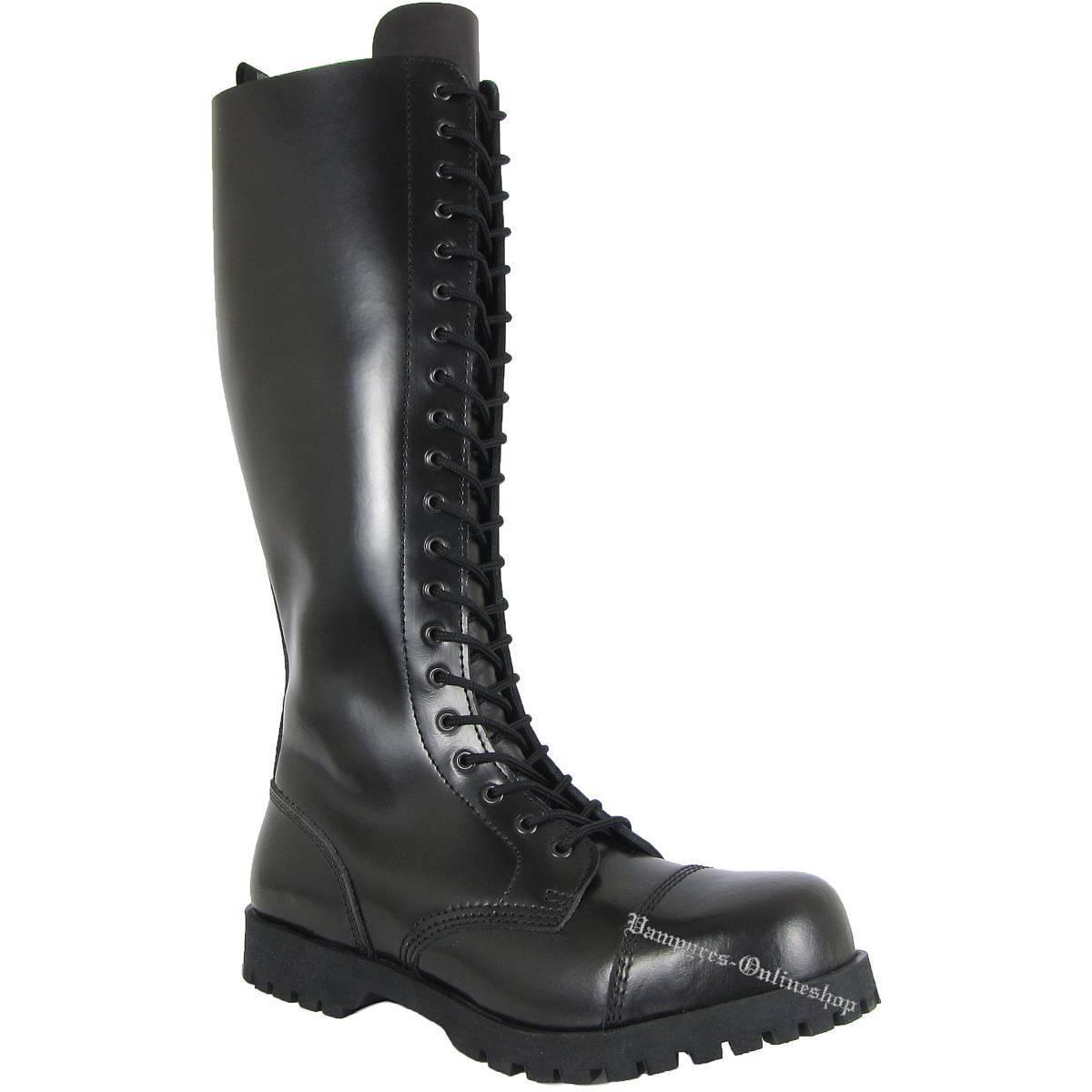 Boots & Braces 20-Loch Stahlkappen Stiefel Schwarz Rangers Leder Stahlkappen 20-Loch Black Nero Noir 5b353a