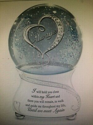 Crystal Jewels And Sentiment Until We Meet Again Musical Glitter Globe The Bradford Exchange With Heirloom Porcelain Base