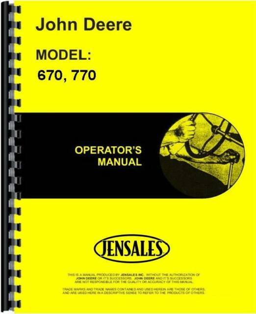 John Deere 670 770 SN 100 001 Up Tractor Operators Manual JD O OMM95326