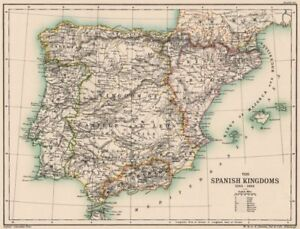 Map Of Spain 1492.Details About Iberia Spain The Spanish Kingdoms 1263 1492 Portugal 1902 Old Antique Map