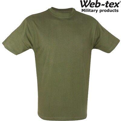 WEB-TEX MENS ARMY T-SHIRT S-2XL 100/% COTTON OLIVE GREEN MILITARY CADET TOP