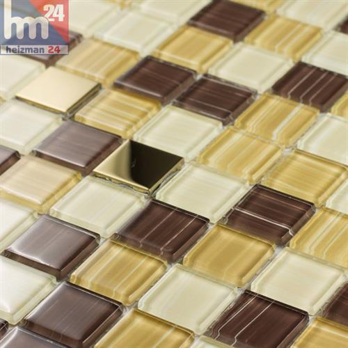Glasmosaik Monaco Metall Elemente Mosaikfliese gold braun weiß gelb 29,5x29,5cm