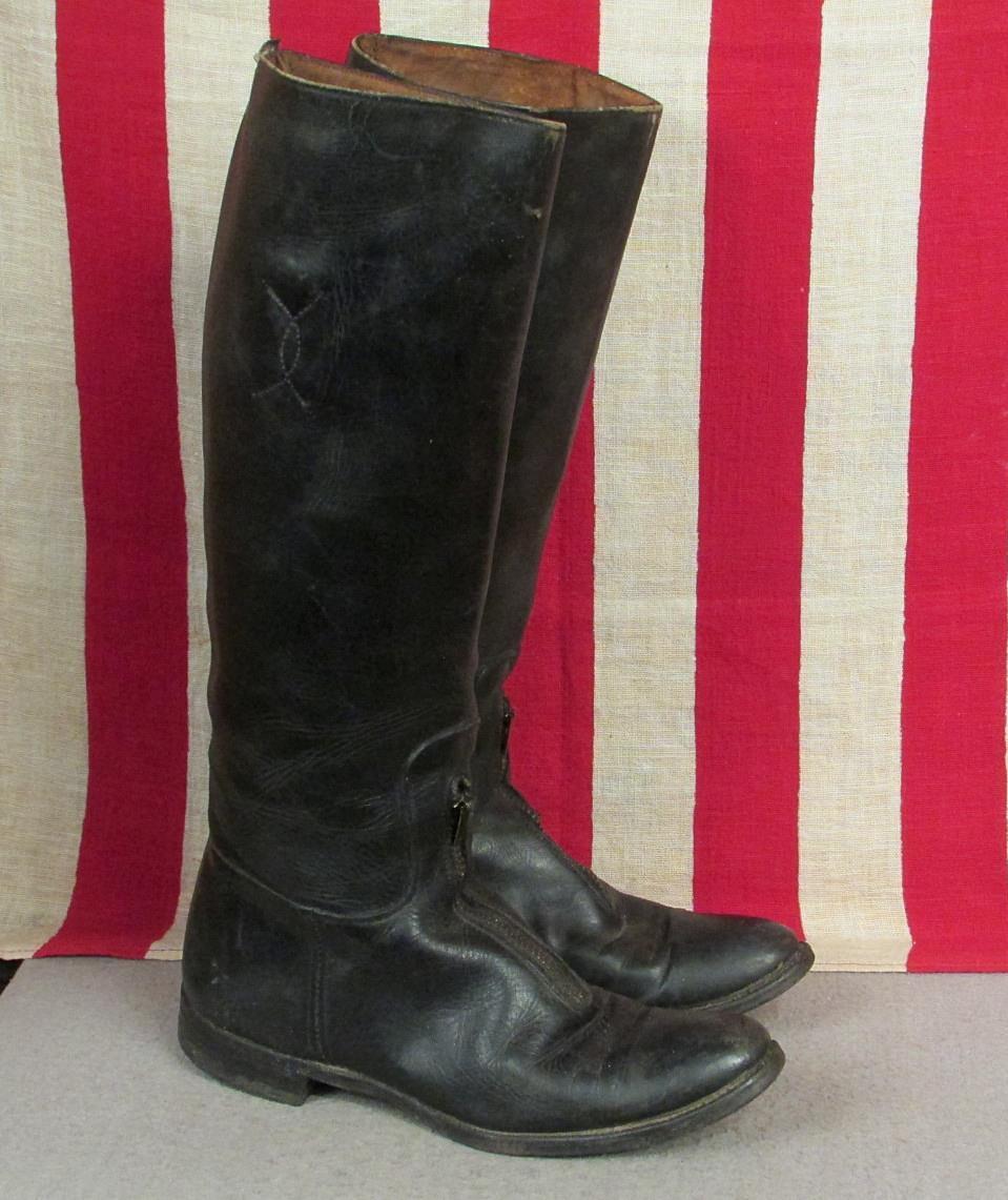 Vintage 1930s Colt Cromwell Cuero Negro botas De Montar Talla Cremallera ecuestre de la Juventud