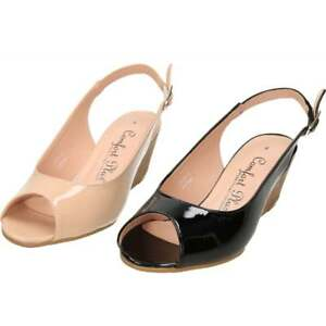 41f18c950bb Comfort Plus Wide Fit Slingback Wedge Heel Peep Toe Patent Shoes ...