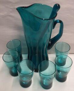 Vintage-Polish-Glass-Teal-Cocktail-Set-Jug-with-Stirrer-and-6-Glasses-c1960s