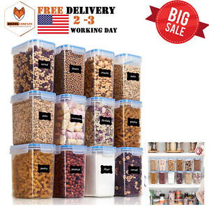 Details about 12 PIECES AIRTIGHT FOOD STORAGE CONTAINERS PLASTIC PBA FREE  KITCHEN PANTRY 1.5QT