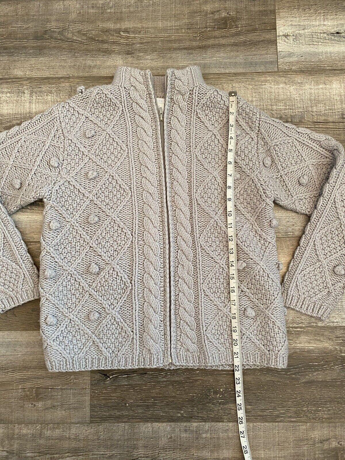 Hand Knit Gray Wool Crochet Chunky Knit Pom Pom F… - image 8